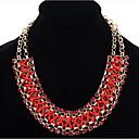 preiswerte Modische Halsketten-Damen Kristall Statement Ketten - Leder, Diamantimitate Himmelblau, Rot, Regenbogen Modische Halsketten Für Party