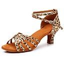 billige Antrekk til latindans-Dame Sko til latindans Sateng Sandaler / Høye hæler Spenne Kubansk hæl Kan spesialtilpasses Dansesko Leopard