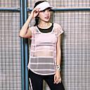 billige Cykelbukser,Shorts,Strømpebukser, Tights-Dame See Through Yoga Top / Bluse - Lys pink Sport Mode T-Shirt Yoga, Løb, Fitness Kortærmet Sportstøj Hurtigtørrende, Åndbart Elastisk