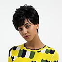 povoljno Capless-Ljudski kose bez kaplama Ljudska kosa Ravan kroj Pixie frizura Stil Prirodna linija za kosu Tamno crna Capless Perika Žene Dnevno