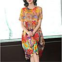 رخيصةأون المكعبات-فستان نسائي شيفون أساسي طباعة ميدي هندسي رقبة عالية مدورة