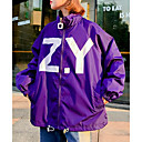 cheap TV Boxes-Women's Daily Regular Jacket, Letter Turtleneck Long Sleeve Polyester White / Black / Purple L / XL / XXL