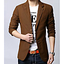 cheap Night Lights-Men's Daily Basic Regular Blazer, Solid Colored Turndown Long Sleeve Polyester Brown / Black / Khaki XL / XXL / XXXL