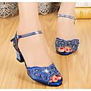 abordables Zapatos de Baile Moderno-Mujer Zapatos de Baile Latino Sintéticos Tacones Alto Talón grueso Zapatos de baile Negro / Morado / Azul / Rendimiento / Cuero / Entrenamiento