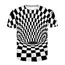 cheap Historical & Vintage Costumes-Men's Club Basic / Street chic T-shirt - Color Block Black & White, Print Round Neck White XXL / Short Sleeve / Summer