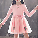 ieftine Costume Antice-Copii Fete De Bază Floral Manșon Lung Rochie Roz Îmbujorat