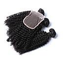 billige Syntetiske parykker med blonde-3 pakker med lukking Brasiliansk hår Kinky Curly 10A 100% Remy Hair Weave Bundles Hår Veft Med Lukker 18 tommers Naturlig Hårvever med menneskehår Beste kvalitet Hairextensions med menneskehår Dame