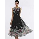 cheap Religious Jewelry-Women's Daily / Beach Elegant Slim Swing Dress Butterfly, Print Summer Black M L XL
