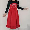 tanie Zestawy ubrań dla dziewczynek-Dzieci Dla dziewczynek Słodkie / Moda miejska Wyjściowe Czarno-czerwony Patchwork Patchwork / Nadruk Długi rękaw Midi Sukienka / Bawełna