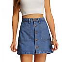 abordables Pelucas Sintéticas de Malla-Mujer Básico Corte Bodycon Faldas Un Color
