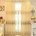 """cheap Curtains & Drapes-Blackout Curtains Drapes Two Panels 2*(55W×102""""L) Yellow / Embroidery / Bedroom"""