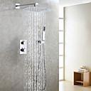 billige Taklamper-moderne termostat dusjkran sett / luftdrop vannbesparende badekar regndusjhode / badmikserventil / hånddusj inkludert / krom