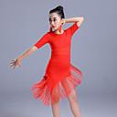 preiswerte Kindertanzkleidung-Latein-Tanz Kleider Mädchen Leistung Polyester Quaste / Kombination Halbe Ärmel Hoch Kleid
