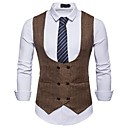 cheap Men's Rings-Men's Party / Work Business / Basic Spring &  Fall Short Vest, Solid Colored V Neck Sleeveless Polyester White / Black / Khaki L / XL / XXL / Business Casual / Slim