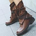 abordables Zapatos de Niña-Mujer Botas de Equitación PU Primavera & Otoño Botas Tacón Bajo Dedo redondo Mitad de Gemelo Remache Negro / Marrón