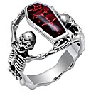 cheap Rings-Men's Retro Mexican Sugar Skull Statement Ring Silver Plated Skull Statement Punk Ring Jewelry Red For Carnival Professional Cosplay Costumes 7 / 8 / 9 / 10 / 11