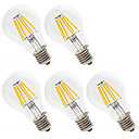 cheap LED Filament Bulbs-5pcs 6W 560lm E26 / E27 LED Filament Bulbs A60(A19) 6 LED Beads High Power LED Decorative Warm White / Cold White 220-240V