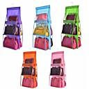 billige Krantilbehør-dobbeltside gjennomsiktig 6 lomme sammenleggbar hengende veske veske oppbevaringspose, diverse ryddig organisator garderobeskap skap