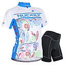 cheap Running Shirts, Pants & Shorts-Nuckily Women's Short Sleeve Cycling Jersey with Shorts - Blue Bike Shorts / Jersey / Clothing Suit, Waterproof, Breathable, 3D Pad, Reflective Strips, Sweat-wicking Polyester, Spandex Floral