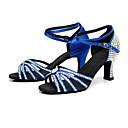 baratos Sapatos de Dança Latina-Mulheres Sapatos de Dança Latina Cetim Salto Gliter com Brilho / Presilha / Detalhes em Cristal Salto Carretel Personalizável Sapatos de Dança Preto / Marron / Azul