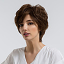 cheap Human Hair Capless Wigs-Human Hair Capless Wigs Human Hair Curly Pixie Cut Natural Hairline Dark Brown Capless Wig Women's Daily Wear