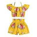 tanie Zestawy ubrań dla dziewczynek-Dzieci Dla dziewczynek Boho Codzienny Słonecznik Kwiaty Nadruk Bez rękawów Krótkie Krótkie Spandeks Komplet odzieży Żółty 100