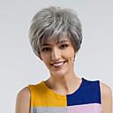 billige Syntetiske parykker-Human Hair Capless Parykker Ekte hår Rett Pixiefrisyre Naturlig hårlinje Mørkegrå Lokkløs Parykk Dame Dagligdagstøy