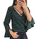 billige Hættetrøjer og sweatshirts til damer-V-hals Løstsiddende Dame - Ensfarvet Skjorte