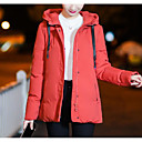 cheap Dog Travel Essentials-Women's Going out Solid Colored Regular Parka, Polyester Long Sleeve Hooded Black / Red / Pink XXXL / 4XL / XXXXXL