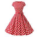 tanie Torby tote-Damskie Puszysta Vintage Bawełna Linia A Sukienka - Groszki, Nadruk Midi