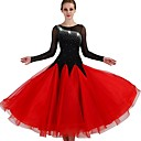 abordables Ropa para Baile de Salón-Baile de Salón Vestidos Mujer Rendimiento Licra / Organza Fruncido / Combinación / Cristales / Rhinestones Manga Larga Cintura Media Vestido