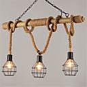 povoljno Viseća rasvjeta-3-glava metalni kavez 80cm vintage konoplje konop bambus privjesak svjetla potkrovlje kreativni dnevni boravak restoran odjeća trgovina žarulja
