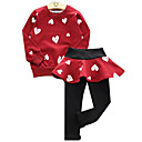 cheap Boys' Tops-Kids Girls' Active / Street chic Holiday / Going out Geometric / Color Block Print Long Sleeve Regular Cotton Clothing Set Red 2-3 Years(100cm)