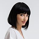 cheap Human Hair Capless Wigs-Human Hair Capless Wigs Human Hair Straight Bob Haircut Natural Hairline Black Capless Wig Women's Daily Wear