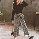 tanie Zestawy ubrań dla dziewczynek-Dzieci Dla dziewczynek Aktywny / Moda miejska Codzienny / Wyjściowe Kratka Długi rękaw Regularny Jedwab wiskozowy Komplet odzieży Czarny 140