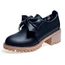 olcso Női Oxford cipők-Női Körömcipők PU Ősz minimalizmus Félcipők Vaskosabb sarok Kerek orrú Csokor Fekete / Mandula / Napi