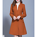 cheap Wedding Flowers-Women's Going out / Work Long Coat, Solid Colored Round Neck Long Sleeve Linen / Polyester Red / Blushing Pink / Gray XL / XXL / XXXL