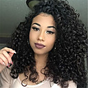 cheap Human Hair Wigs-Remy Human Hair Full Lace Lace Front Wig Asymmetrical Rihanna style Brazilian Hair Afro Curly Black Wig 130% 150% 180% Density with Baby Hair Fashionable Design Women Sexy Lady Natural Black Women's