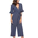 cheap Jewelry Sets-women's jumpsuit - polka dot deep v