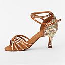 baratos Sapatos de Dança Moderna-Mulheres Sapatos de Dança Latina Cetim Salto Pérolas / Gliter com Brilho / Presilha Salto Carretel Personalizável Sapatos de Dança Preto / Marron