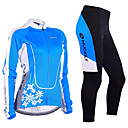 cheap Cycling Jerseys-Nuckily Women's Long Sleeve Cycling Jersey with Tights - Blue Floral / Botanical Bike Clothing Suit Windproof Breathable 3D Pad Anatomic Design Reflective Strips Sports Polyester Lycra Floral