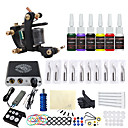 cheap Starter Tattoo Kits-Tattoo Machine Starter Kit - 1 pcs Tattoo Machines with 7 x 5 ml tattoo inks, Professional Mini power supply 1 cast iron machine liner & shader