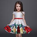 baratos Conjuntos para Meninas-Infantil / Bébé Para Meninas Activo / Doce Festa / Para Noite Floral Estampado Manga Curta Acima do Joelho Vestido Branco