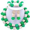 זול שרשרת אופנתית-בגדי ריקוד נשים שכבות סט תכשיטים - כדור אופנתי לִכלוֹל שרשרת גדילים אדום / ירוק / ורוד לוהט עבור Party יומי