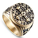 cheap Men's Rings-Men's Vintage Style Sculpture Ring - Titanium Steel, Stainless Cross, Letter Stylish, Vintage, Punk 8 / 9 / 10 / 11 / 12 Champagne For Street Club