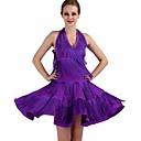 זול הלבשה לריקודים לטיניים-ריקוד לטיני שמלות בגדי ריקוד נשים הצגה ספנדקס פרנזים ללא שרוולים טבעי שמלה