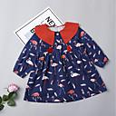 povoljno Haljine za djevojčice-Dijete koje je tek prohodalo Djevojčice Aktivan / Ulični šik Dnevno / Vikend Flamingosi Životinja Print Dugih rukava Pamuk Haljina Navy Plava 100