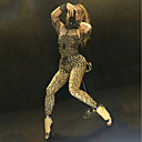 povoljno Egzotična plesna odjeća-Egzotična plesna odjeća Kombinezon s drgim kamenjem / Klubska nošnja Žene Seksi blagdanski kostimi Spandex Kristali / Rhinestones Dugih rukava Hula-hopke / Onesie