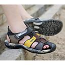 זול סנדלים לגברים-בגדי ריקוד גברים נעלי נוחות עור קיץ סנדלים שחור / חום