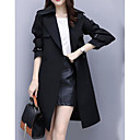 cheap Sexy Uniforms-Women's Going out Long Jacket, Solid Colored Fold-over Collar Long Sleeve Polyester Black / Beige L / XL / XXL